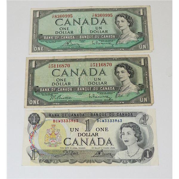 LOT OF THREE VINTAGE CANADIAN $1 BILLS