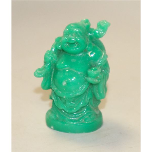 SMALL GREEN CARVED BUDA STATUE