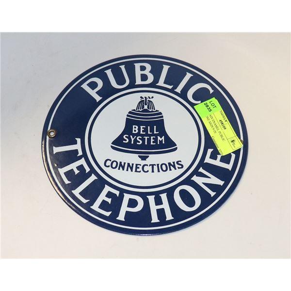PORCELAIN ENAMEL PUBLIC TELEPHONE SIGN 9 IN