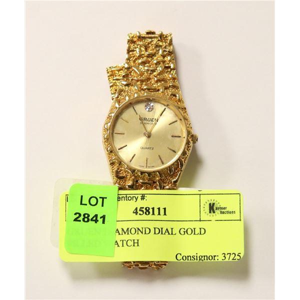 GRUEN DIAMOND DIAL GOLD FILLED WATCH