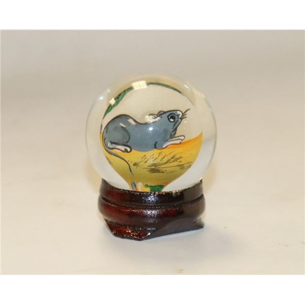 SMALL HAND PAINTED JAPANESE GLASS GLOBE