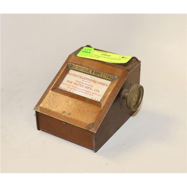 ANTIQUE DESKTOP TELEPHONE INDEX ROLLER