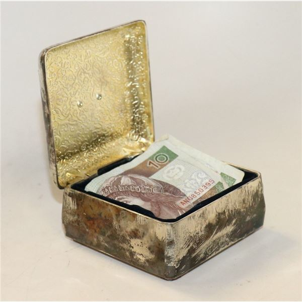 VINTAGE SILVER KEEPSAKE BOX WITH CURRENCY INSIDE