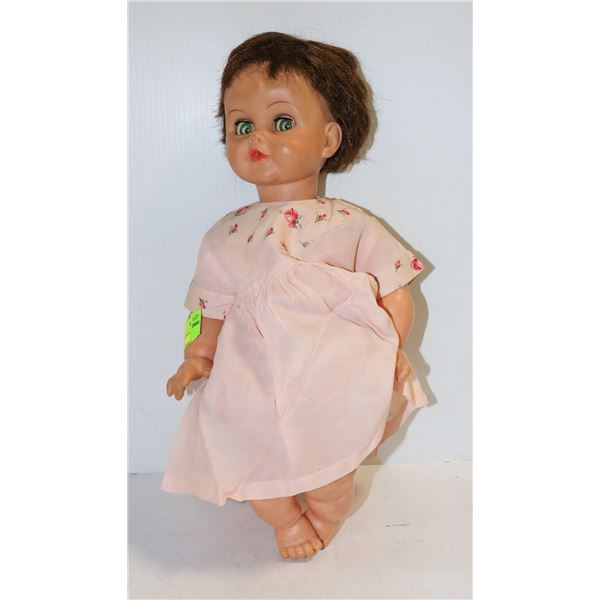 950S LARGE DOLL WITH CRYING SOUNDS PINK DRESS