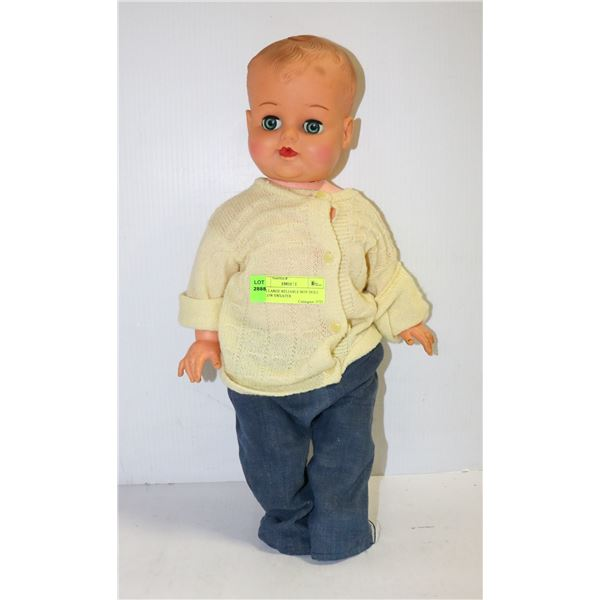 1950S LARGE RELIABLE BOY DOLL YELLOW SWEATER