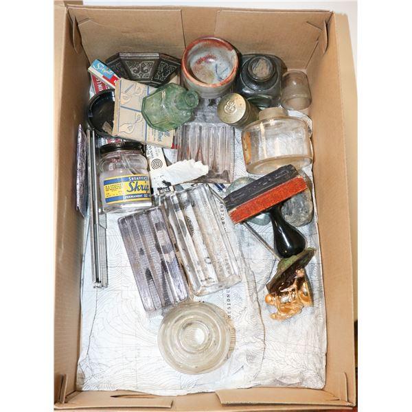 BOX OF ANTIQUE DESK ACCESSORIES