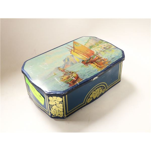 ANTIQUE TOFFEE TIN WITH SAILING SCENE