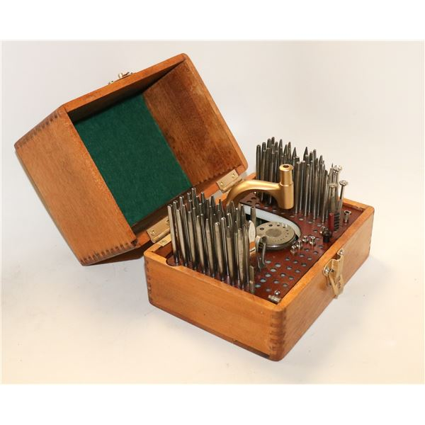 ANTIQUE WATCHMAKERS TOOL SET IN WOODEN CASE