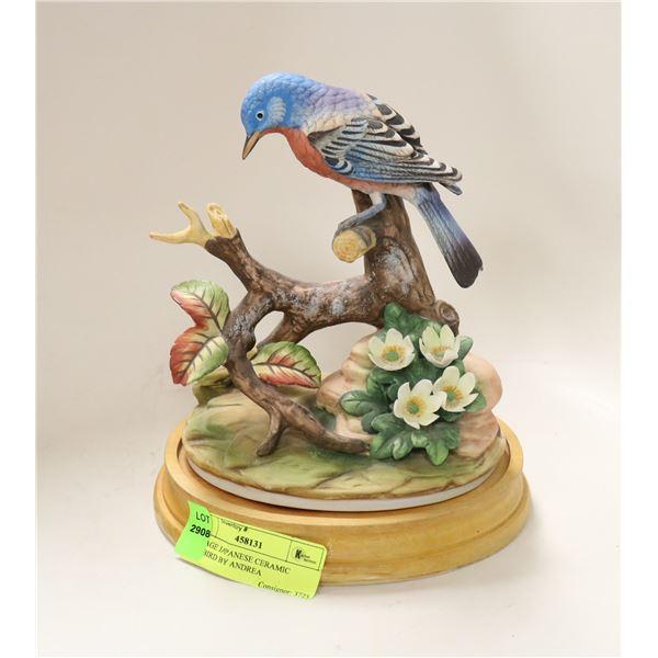 VINTAGE JAPANESE CERAMIC BLUEBIRD BY ANDREA