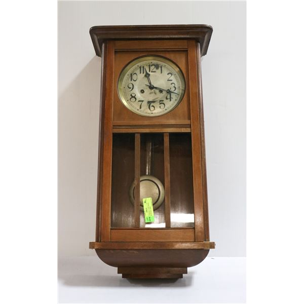 ANTIQUE WOOD CASED WALL CLOCK WITH KEY AND