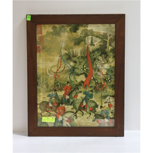 FRAMED VINTAGE ASIAN FABRIC PRINT ART