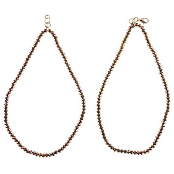"""Pair Nora of Norway 16"""" Gold Tone Crystal  Necklaces"""