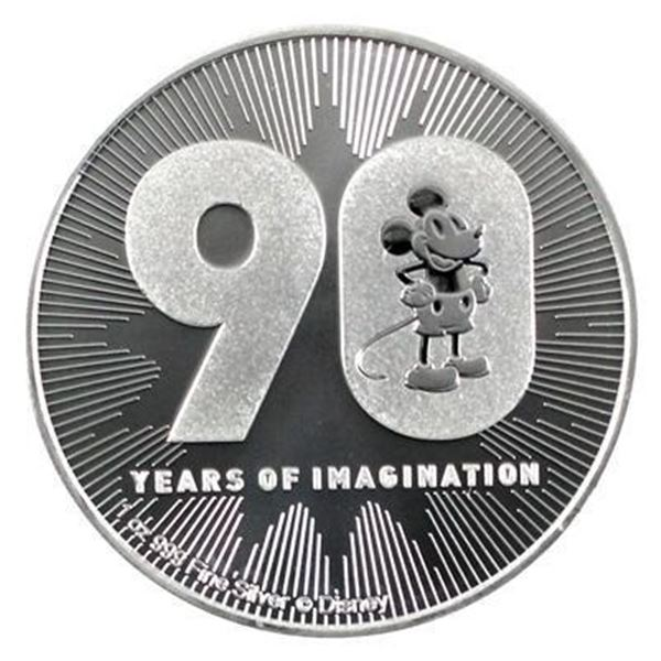 Scarce - Mikey Mouse 90th Anniversary 2.00  Coin. .999 Fine Silver.