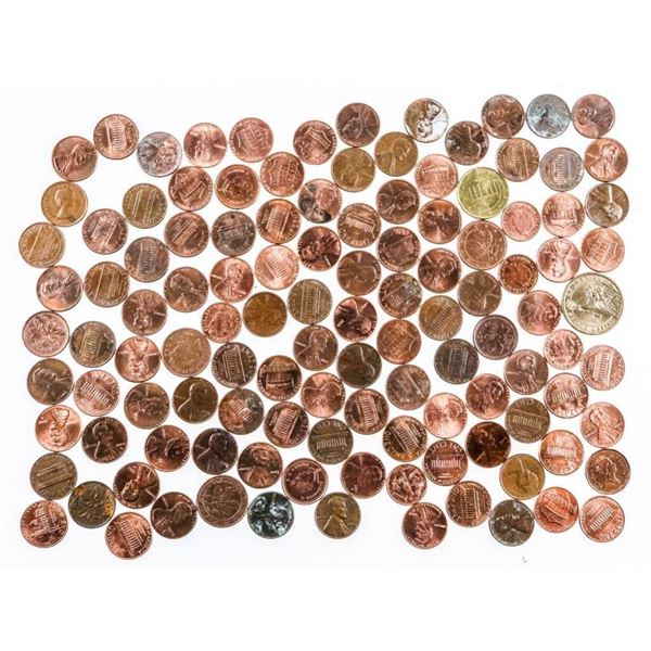 Lot/Bag Over 100 USA Pennies, with/ USA  Dollar Coin & A Few Foreign