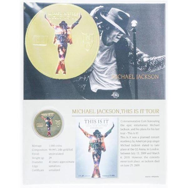 Michael Jackson - LE 24kt Gold Foil UNC  Collectible Medallion w/ 8 x 10 Giclee Art  Card