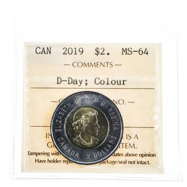 2019 Canada $2 D-Day Colour MS 64 ICCS