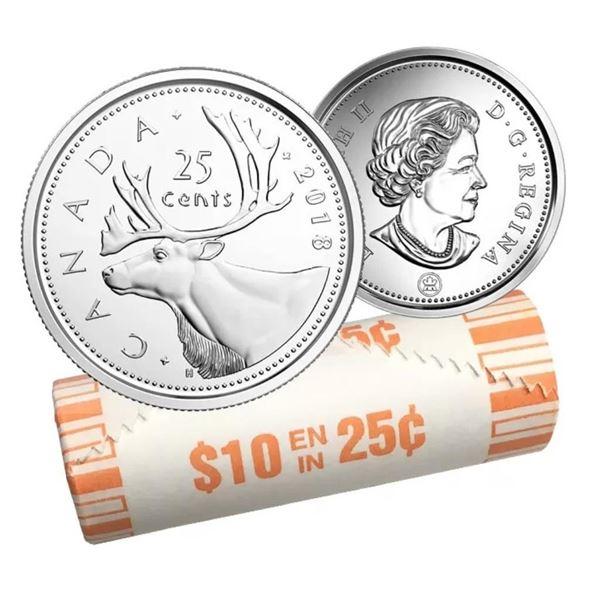 Mint Roll 2018 Canada 25c Coin x 40 Coins