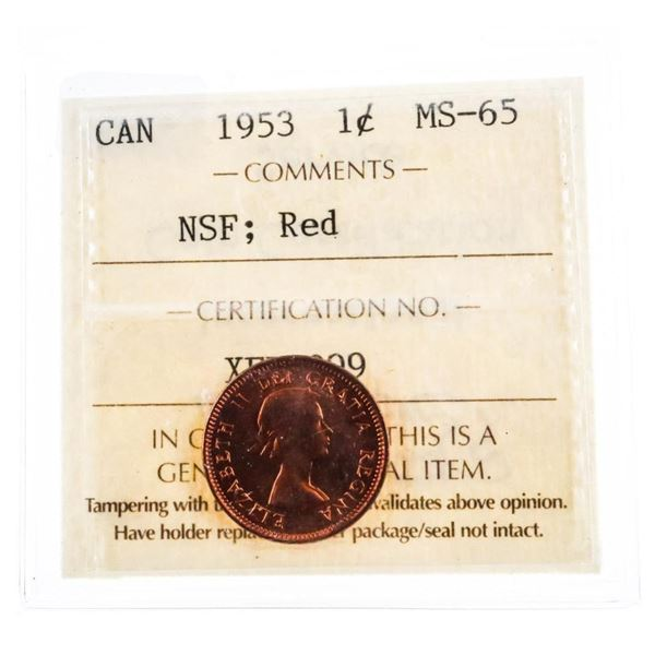 1953 Canada One Cent Coin NSF: Red MS65 ICCS