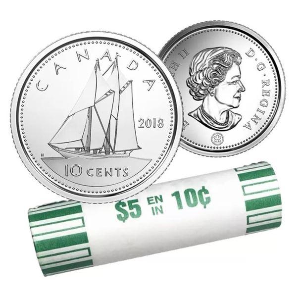 Mint Roll 2018 Canada 10c Coin x 50 Coins