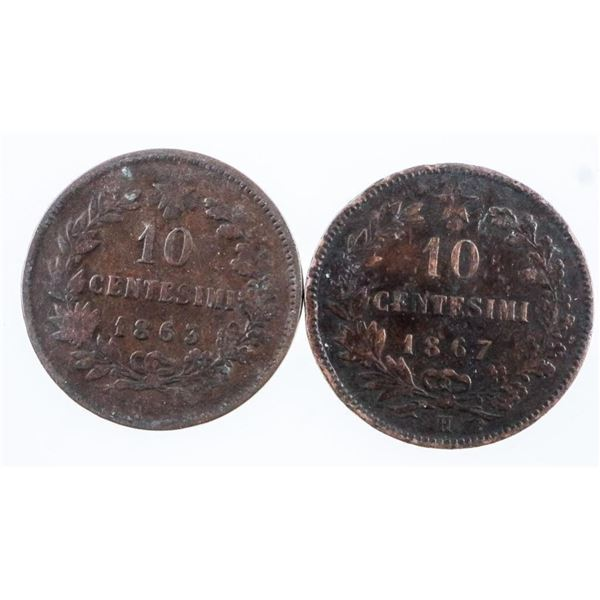 Lot 2 Coins ITALY 1863 & 1867 10 Cents