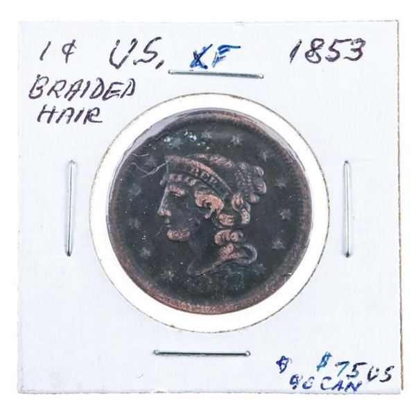USA Large One Cent 1853 Braided Hair EF