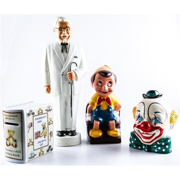 """Lot 4 Collectibles - Pinochio Disney  prop,Col. Saunders KFC 12"""" Figure,Clown,  Royal Worchester Boo"""