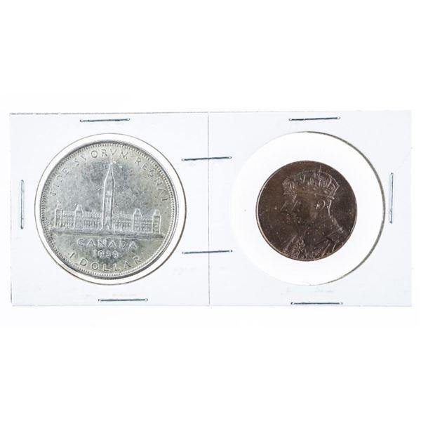 1939 Canada Silver Dollar & Bronze Medallion