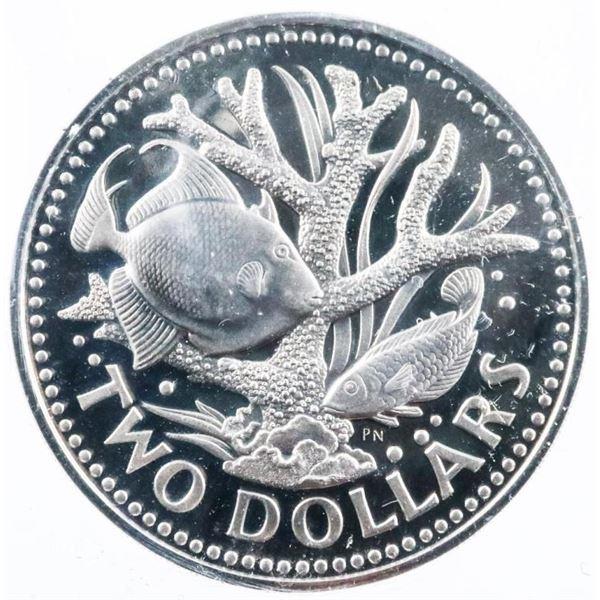 Barbados 1973 $2 Coin PF67 ICCS