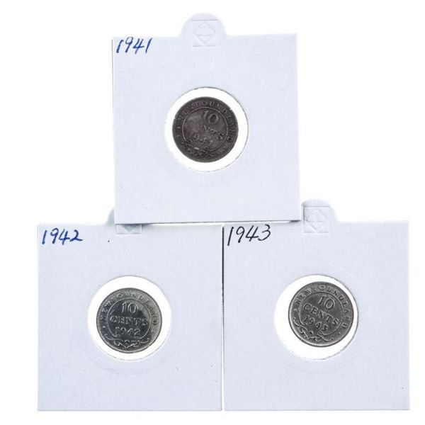 Group of 3 NFLD. Silver 10c, 1941-42-43