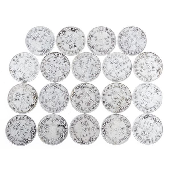 Lot 19 NFLD 925 Silver 50 Cent Coins