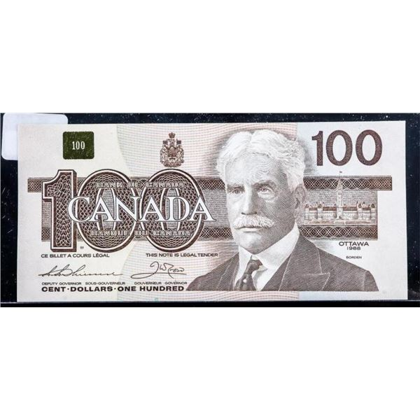 OLMSTEAD ORIGINAL - Bank of Canada 1988 $100  GEM UNC (BJE)
