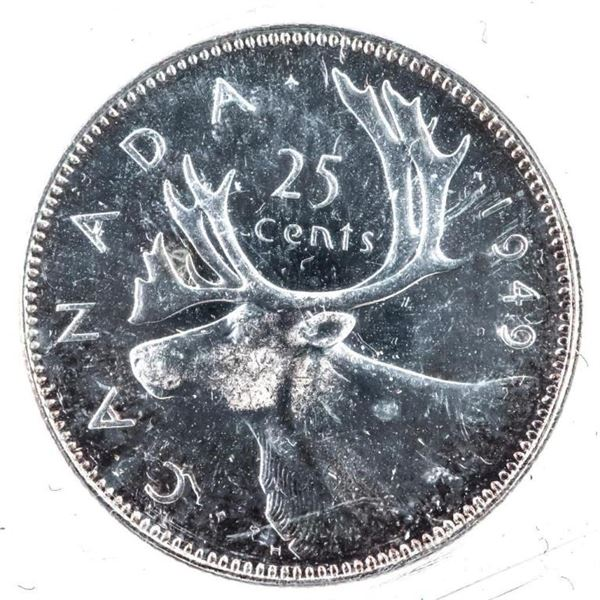1949 Canada Silver 25 Cents MS63 ICCS