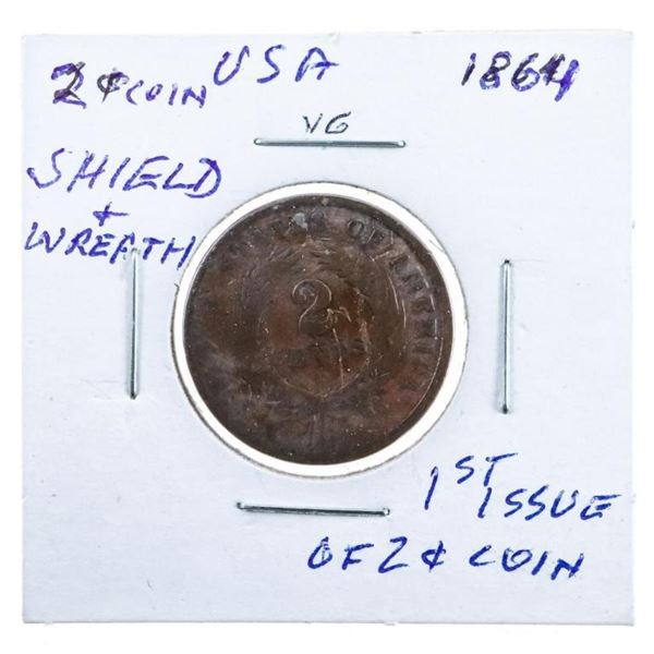 USA 1864 2 Cents 1st Issue Shield & Wheat  Wreath