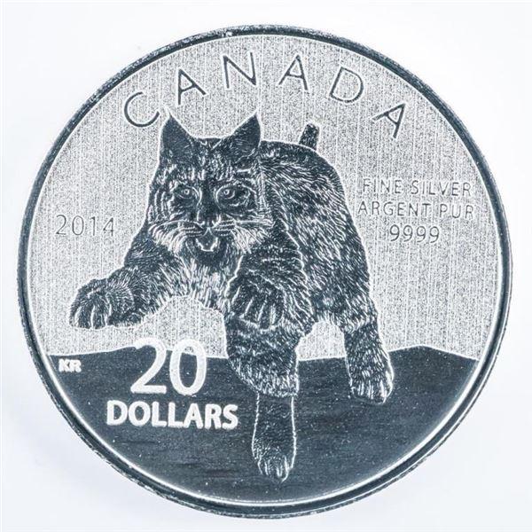 RCM 2014 Bobcat Fine Silver $20 Coin Folio