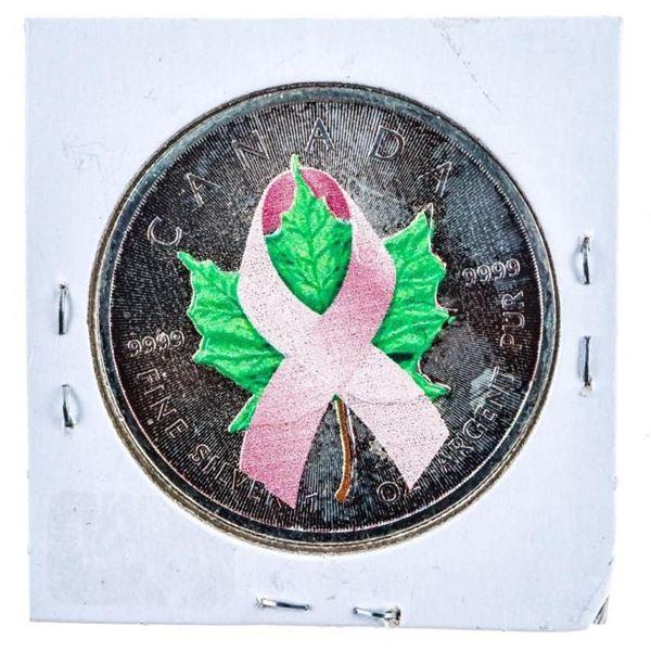 2014 RCM .9999 Fine Silver Maple leaf/Pink  Ribbon $5 -Toned