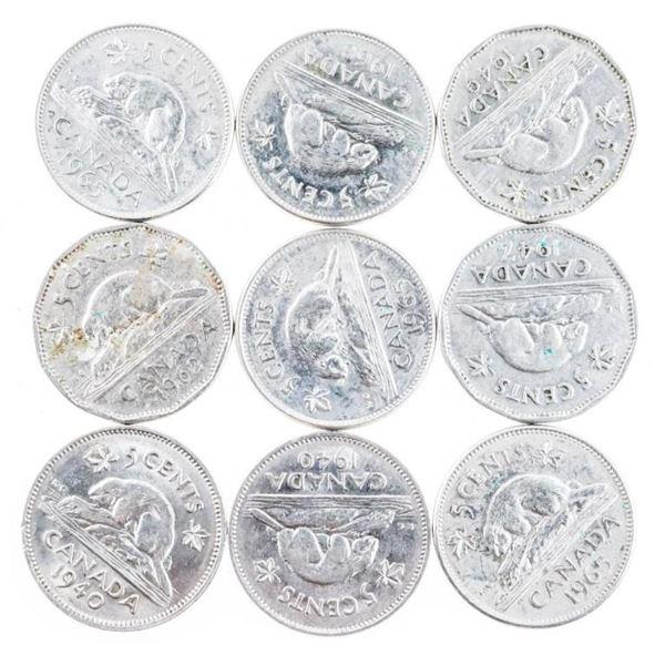 Lot 9 Canada Nickels - 2 x George- 7 x QE