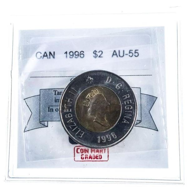 Canada 1996 $2 Coin AU-55 Cert