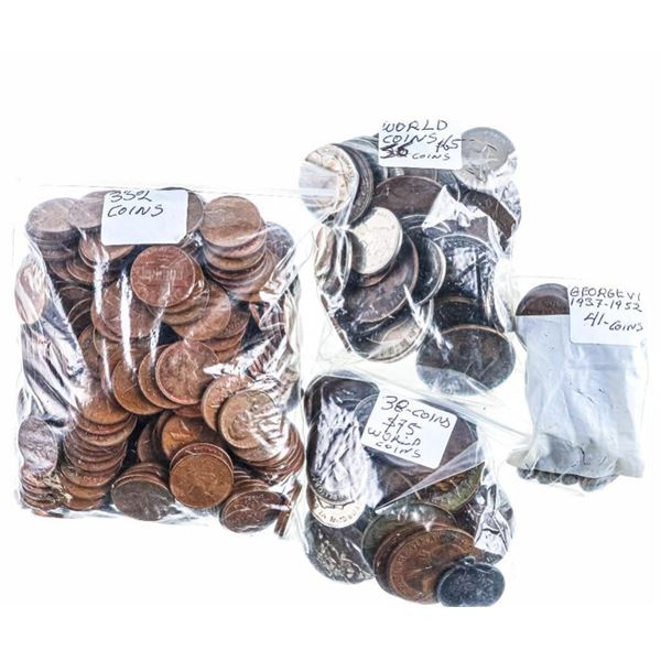 Estate Bag/Lot Canada One Cent & World Coins  Approx.550 Coins