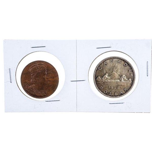 Canada 1953 Silver Dollar - Coronation w/  Medallion