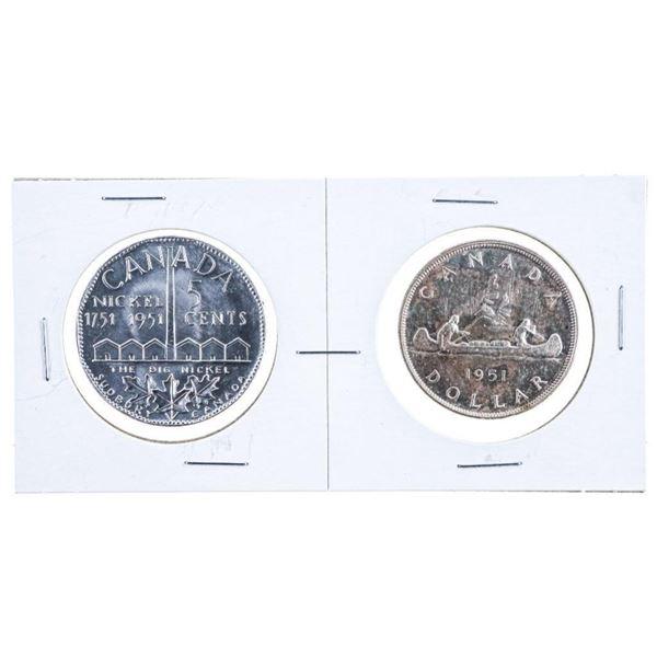 Lot 2 1951 Canada Silver Dollar + 1951 Large  Aluminum Nickel