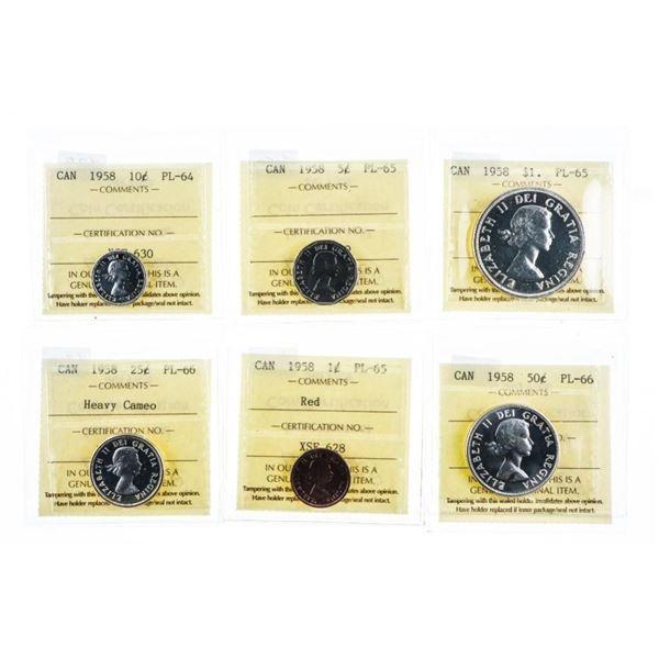 Canada 1958 PL 6 Coin Set -PL64-65-66 -All  ICCS CAT: $780