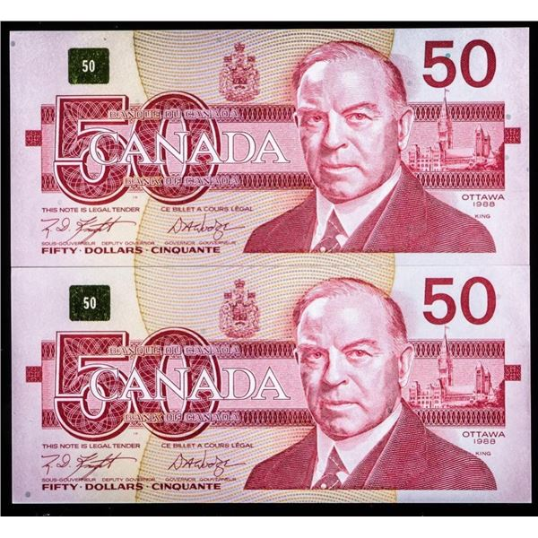 Lot 2 Bank of Canada 1988 $50 In Sequence Gem  UNC