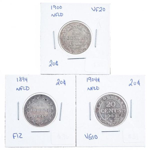 Lot 3 NFLD 1894,1900, 1904 Silver 20 Cents