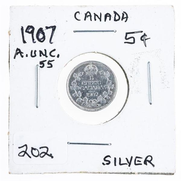 1907 Canada Silver 5 Cents AU