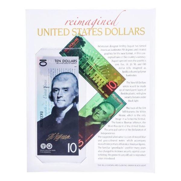 Reimagined USA Ten Dollars/w 24kt Gold  Signature of Jefferson, w/8 x 10 Art Card