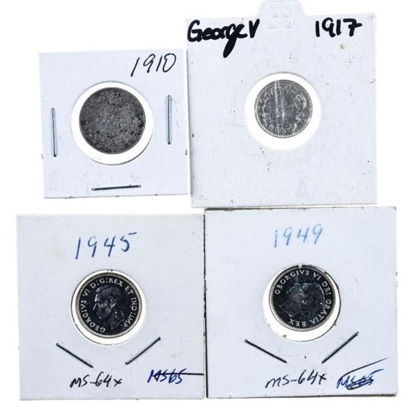 Lot 4 Silver Canada Dimes 1910-1917-1945-1949