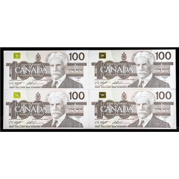Lot 4 Bank of Canada 1988 $100 In Sequence