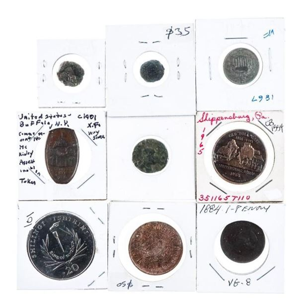 Group of 9 Coins, Estate Collection -  Ancients, USA, Ca, etc.