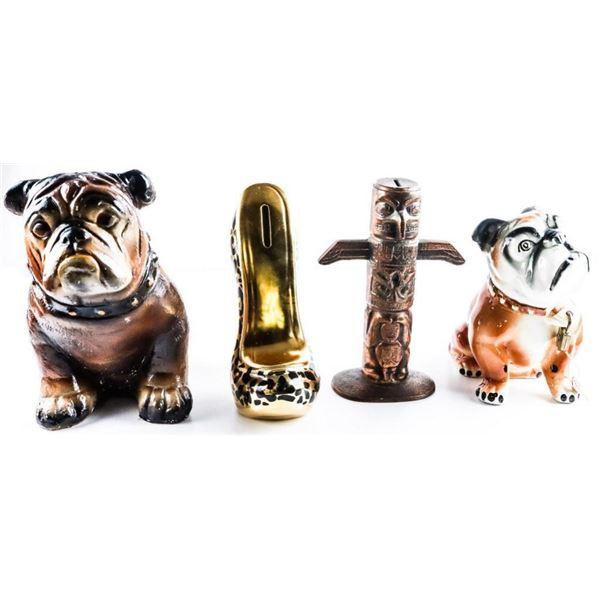 """Group of 4 Collectibles - Bulldog Bank Small  ,Large Bulldog bank, Totem Pole, 7"""" Gold  Ladies Porce"""