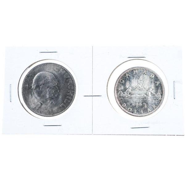 Lot 2 Canada 1965 Silver Dollar +1965 GB  Churchill Coin